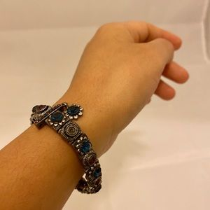 Jewelry - Statement bracelet with blue and purple gem stones